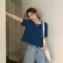 T-shirt White, yellow, black, berry red, sea blue, orange Average size Summer 2021 Short sleeve Crew neck Self cultivation have cash less than that is registered in the accounts routine commute other 30% and below 18-24 years old Korean version youth Solid color 4.5C