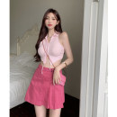 Fashion suit Summer 2021 S, M Pink vest, rose skirt 18-25 years old 4.14A