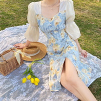 Dress Summer 2021 Picture color S,M,L Mid length dress singleton  elbow sleeve commute other High waist Broken flowers other A-line skirt other 18-24 years old Type A Korean version Splicing 3.31C