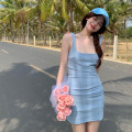 Dress Summer 2021 Ice cream blue S,M,L Middle-skirt singleton  Sleeveless commute square neck High waist Solid color other A-line skirt camisole 18-24 years old Type A Korean version 4.12A