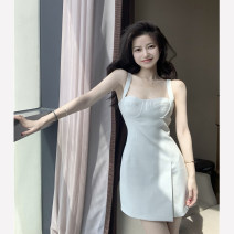 Dress Summer 2021 Apricot, blue S, M Short skirt singleton  Sleeveless commute Solid color A-line skirt camisole 18-24 years old Type A Korean version backless 4.14C