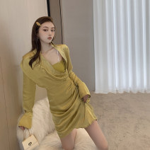 Dress Spring 2021 Shirt, sling Average size Middle-skirt Two piece set Long sleeves commute other High waist Solid color other other shirt sleeve 18-24 years old Type A Korean version fold 3.30C