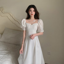 Dress Summer 2020 white S, M Mid length dress singleton  Short sleeve commute square neck High waist Solid color Socket A-line skirt puff sleeve 18-24 years old Type A Simplicity Three dimensional decoration 4.15B