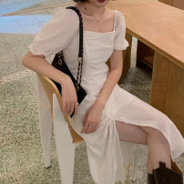 Dress Summer 2021 white M, L Mid length dress singleton  Short sleeve commute square neck High waist Solid color A-line skirt puff sleeve 18-24 years old Korean version Fold, lace up 4.11A