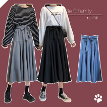skirt Spring 2021 Average size Black, gray, blue Mid length dress commute High waist A-line skirt Solid color Type A 18-24 years old polyester fiber Frenulum