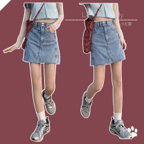 skirt Spring 2021 S,M,L blue Short skirt Versatile High waist Denim skirt Solid color Type A 18-24 years old 71% (inclusive) - 80% (inclusive) cotton