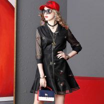 Dress Spring 2021 black S,M,L,XL Mid length dress singleton  three quarter sleeve V-neck middle-waisted zipper Ruffle Skirt other Type A Finkshark / finkshark Lace, embroidery, gauze, lace other other