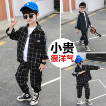 suit Super Bonnie Black Navy 90cm 100cm 110cm 120cm 130cm 140cm male spring Korean version Long sleeve + pants 2 pieces routine There are models in the real shooting Single breasted nothing other other children Travel D2-13-3yktz-plaid shirt suit Class B Other 100% Spring 2021 Chinese Mainland