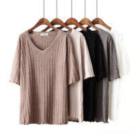 T-shirt Black, white, gray, khaki, apricot XL (bust 108), 2XL (bust 114), 3XL (bust 120), 4XL (bust 124), 5XL (bust 130) Spring 2020 elbow sleeve V-neck Straight cylinder Regular routine commute other 31% (inclusive) - 50% (inclusive) 25-29 years old Korean version classic Solid color Bright silk