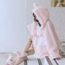 short coat Winter 2020 have more cash than can be accounted for White, cherry powder Long sleeves Medium length routine singleton  Cape type Sweet routine Hood Buckle Solid color Yayizi Cashmere