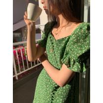 Dress Spring 2021 Wizard of Oz Short skirt singleton  Short sleeve High waist Broken flowers A-line skirt puff sleeve 18-24 years old Kernel Cosmos / kernel universe More than 95% cotton