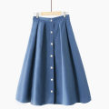 skirt Summer 2021 One size elastic waist Mid length dress Versatile High waist A-line skirt Solid color Type A 18-24 years old 020180919-01 other Pleating, stitching