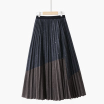 skirt Spring 2021 One size elastic waist longuette commute High waist Pleated skirt Solid color Type A 25-29 years old 020201201-01 71% (inclusive) - 80% (inclusive) other Thua Vinylon Bright silk, bright line decoration, splicing Ol style 201g / m ^ 2 (including) - 250G / m ^ 2 (including)