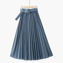 skirt Summer 2021 One size elastic waist New + light apricot [pleat / belt], new + light card [pleat / belt], new + deep card [pleat / belt], new + leather powder [pleat / belt], new + Blue Grey [pleat / belt], new + dark green [pleat / belt], new + black [pleat / belt] Mid length dress Versatile