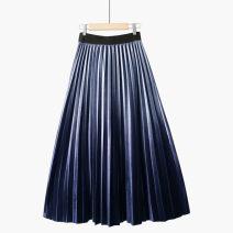 skirt Spring 2021 One size elastic waist S-apricot + deepening hem [golden velvet pleats], s-light dark green + deepening hem [velvet pleats], S-Silver + deepening hem [golden velvet pleats], s-versatile pure black [golden velvet pleats], s-purple + deepening hem [golden velvet pleats] dream Type A