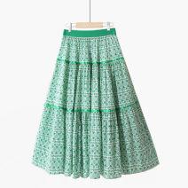 skirt Summer 2021 One size elastic waist Red / cotton / triangle [2-ribbon], green / cotton / triangle [2-ribbon], dark blue / cotton / triangle [2-ribbon], coffee / cotton / triangle [2-ribbon], black / cotton / triangle [2-ribbon] Mid length dress fresh High waist Umbrella skirt Decor Type A other