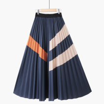 skirt Summer 2021 One size elastic waist Mid length dress Retro High waist Pleated skirt Abstract pattern Type A 18-24 years old 71% (inclusive) - 80% (inclusive) other Thua polyester fiber printing