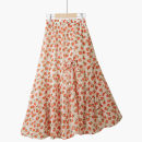 skirt Summer 2021 One size elastic waist Yellow small gesanghua [1 / 3 adjustable skirt], orange small gesanghua [1 / 3 adjustable skirt] Mid length dress Retro Natural waist Splicing style Decor Type A 18-24 years old 020200609-01 Thua Pleating, pleating, stitching, printing