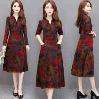 cheongsam Spring 2021 XXL,XXXL,L,XL,4XL,5XL Bright red Long sleeves Single cheongsam ethnic style No slits daily Decor Over 35 years old Piping Hinikalu jh19 Other / other