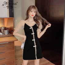 Dress Summer 2021 black S M L XL XXL Short skirt Fake two pieces Short sleeve commute V-neck High waist other zipper A-line skirt other Others 25-29 years old Nonsar / ningsa Korean version Pleated auricular button NSA0488514 81% (inclusive) - 90% (inclusive) other polyester fiber