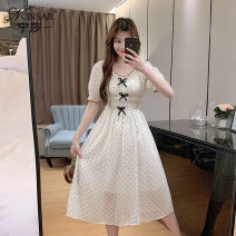 Dress Summer 2021 Apricot white Average size Mid length dress singleton  Short sleeve commute V-neck High waist other Socket A-line skirt puff sleeve Others 25-29 years old Type A Nonsar / ningsa Korean version Bow fold printing NSC0450213 81% (inclusive) - 90% (inclusive) other polyester fiber