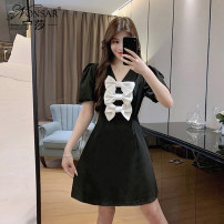 Dress commute A-line skirt Type A Korean version Summer 2021 Middle-skirt singleton  Short sleeve other V-neck middle-waisted puff sleeve 25-29 years old Condom 81% (inclusive) - 90% (inclusive) polyester fiber Other Nonsar / ningsa NSB05SP213308 other Three dimensional decoration with bow M L