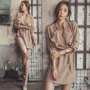 Dress Winter 2020 Khaki, black S,M,L,XL Short skirt singleton  Long sleeves commute V-neck High waist Solid color One pace skirt routine 25-29 years old Type H Other / other Ol style Bow tie A811