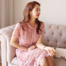 Dress Summer 2021 Pink S,M,L,XL Middle-skirt singleton  Short sleeve commute other middle-waisted Solid color zipper One pace skirt routine Others 25-29 years old Type H Other / other Ol style Hollow, lace W596 81% (inclusive) - 90% (inclusive) Lace