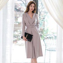 Dress Autumn of 2019 Picture color S,M,L,XL Mid length dress singleton  Long sleeves commute V-neck High waist Solid color zipper One pace skirt routine 25-29 years old Type H Other / other Ol style Frenulum A1156