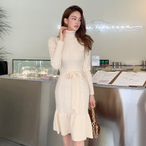 Dress Winter 2020 Off white Average size Mid length dress singleton  Long sleeves commute High collar High waist Solid color Socket One pace skirt routine 25-29 years old Type H Ol style Ruffles, stitching 81% (inclusive) - 90% (inclusive) knitting