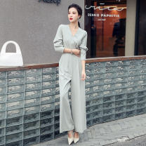 Casual pants Black, bean green S,M,L,XL Spring 2021 trousers Jumpsuit High waist commute routine 25-29 years old Ol style pocket