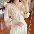 Dress Autumn 2020 Apricot S,M,L Mid length dress singleton  Long sleeves commute V-neck High waist Solid color Socket A-line skirt routine 18-24 years old Type A fold More than 95% polyester fiber