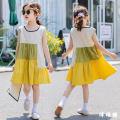 Dress yellow female Other / other 110cm,120cm,130cm,140cm,150cm,160cm,170cm Cotton 95% other 5% summer Korean version Skirt / vest Solid color cotton Splicing style