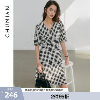 Dress Summer 2021 Black and white S M L XL Middle-skirt singleton  Short sleeve commute V-neck middle-waisted lattice Single breasted other puff sleeve Others 25-29 years old Type H Primary cotton Simplicity More than 95% cotton Cotton 100% Same model in shopping mall (sold online and offline)