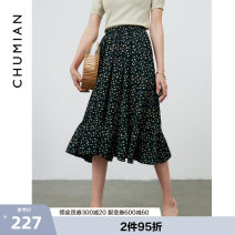 skirt Summer 2021 S M L XL babysbreath Mid length dress commute High waist A-line skirt Solid color Type A 25-29 years old More than 95% Chiffon Primary cotton polyester fiber Simplicity Polyester 100% Same model in shopping mall (sold online and offline)
