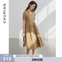 Dress Summer 2021 S M L XL Mid length dress singleton  Short sleeve commute square neck Solid color other other puff sleeve Others 25-29 years old Type H Primary cotton Simplicity More than 95% cotton Cotton 100.00% Same model in shopping mall (sold online and offline)