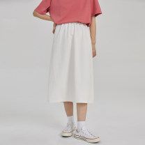 skirt Summer 2021 S M L white Mid length dress commute Natural waist A-line skirt Type A 18-24 years old EG21036082 More than 95% You give cotton Splicing Cotton 100% Pure e-commerce (online only)