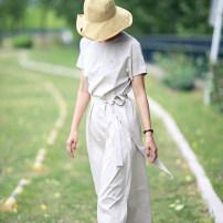 Dress Summer 2020 Apricot Beige S (spot), m (spot), l (spot) longuette singleton  Short sleeve commute Crew neck Oblique shoulder Type H Tour Design Simplicity More than 95% cotton