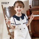 Dress The first batch of White Navy wind will be delivered within 3 days, and the second batch of White Navy wind will be sold in advance for 10 days female Beibei Douding Cotton 100% summer Korean version Short sleeve Solid color cotton A-line skirt BA81024 Spring 2021 Chinese Mainland