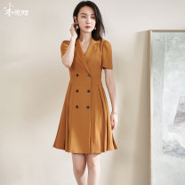 Dress Summer 2021 Khaki / spot straight S M L XL XXL Mid length dress singleton  Short sleeve commute tailored collar middle-waisted Solid color double-breasted A-line skirt puff sleeve Others 35-39 years old Type A Mi Siyang Ol style Button tuck 1Q21BL1282 More than 95% other other Other 100%