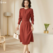 Dress Autumn 2020 Spot / red straight brick S M L XL XXL Mid length dress singleton  Long sleeves commute Crew neck middle-waisted Solid color Socket A-line skirt routine Others 35-39 years old Type A Mi Siyang Retro Pocket lace up button 1M20CL5706 91% (inclusive) - 95% (inclusive) other