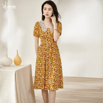 Dress Summer 2021 Yellow / pre sold to April 29 shipment S M L XL XXL Mid length dress singleton  Short sleeve commute Doll Collar middle-waisted Broken flowers Single breasted Big swing puff sleeve Others 35-39 years old Type A Mi Siyang lady Patchwork button print 1X21BL1464 More than 95% other