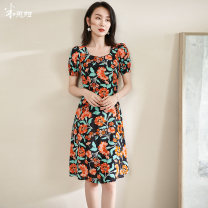 Dress Summer 2021 orange S M L XL XXL Mid length dress singleton  Short sleeve commute Half open collar middle-waisted Decor zipper A-line skirt puff sleeve Others 35-39 years old Type A Mi Siyang lady printing 1W21BL1294 More than 95% other silk Mulberry silk 100%