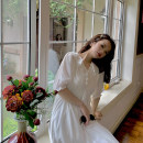Dress Spring 2020 Temperament white XS,S,M,L Mid length dress singleton  elbow sleeve commute Pile collar High waist Solid color Socket A-line skirt routine Others 18-24 years old Type H lady 81% (inclusive) - 90% (inclusive) Chiffon polyester fiber