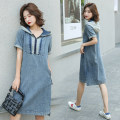 Dress Summer 2020 Picture color, collection order, priority delivery, gift S,M,L,XL,2XL,3XL Mid length dress singleton  Short sleeve commute Hood High waist Solid color Socket A-line skirt routine Others 25-29 years old Type A Korean version Pocket, stitching, patching, ragging, zipper 8012# Denim