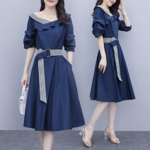Women's large Summer 2021 navy blue Dress singleton  commute easy moderate Socket Short sleeve Medium length Polyester, cotton Medium length