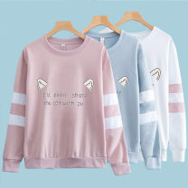 T-shirt S [recommended 75-85 kg], m [recommended 85-95 kg], l [recommended 95-110 kg], XL [recommended 110-125 kg] Autumn of 2019 Long sleeves Crew neck easy Regular routine Sweet cotton 96% and above Under 17 youth Cartoon, cartoon, letter, character KUYOUI Printed, stitched, threaded, taped college