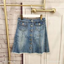 skirt Summer 2020 S Denim blue Short skirt commute High waist A-line skirt Solid color Type A 25-29 years old Denim cotton Button