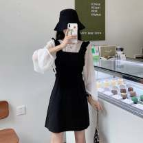 Dress Summer 2020 Black suit, grey suit Average size Short skirt Two piece set Sleeveless commute square neck High waist Solid color A-line skirt straps 18-24 years old Type A Korean version straps TB#622030449145 91% (inclusive) - 95% (inclusive) polyester fiber