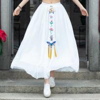 skirt Summer of 2019 Average size white longuette commute A-line skirt Type A ethnic style
